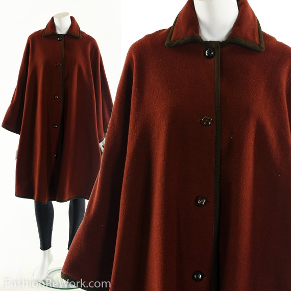 Red Wool Cape , Red Wool Coat ,60's Wool Poncho Co