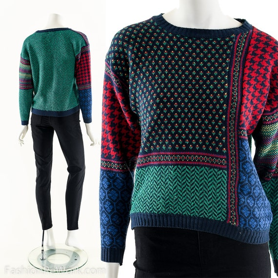 Ugly Christmas Sweater,Colorblock Wool Sweater,Tac