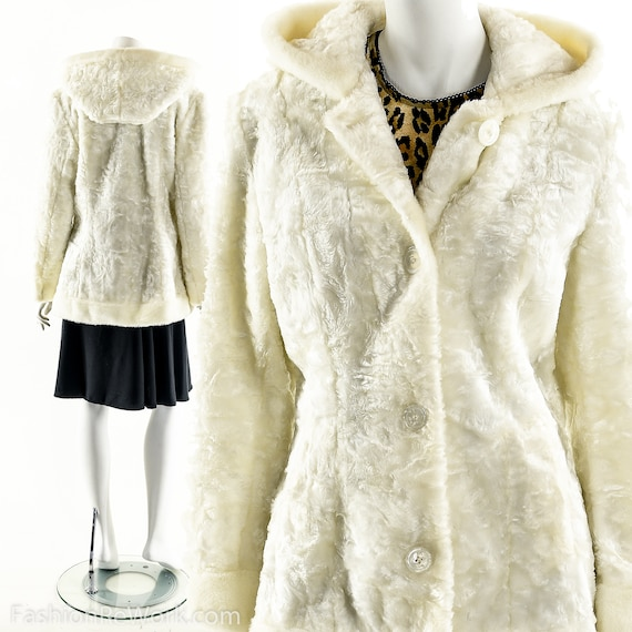 White Faux Fur Coat,90s Plush Teddy Bear Coat,Vint