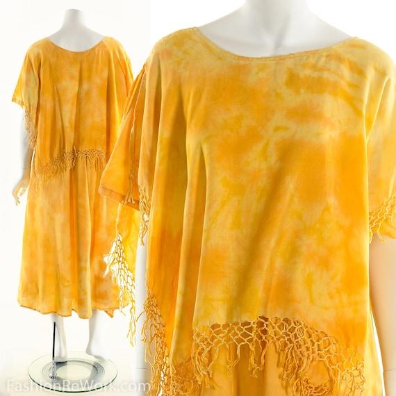 Tie Dye Fringe Dress, Moroccan Tie Dye Dress, Vint