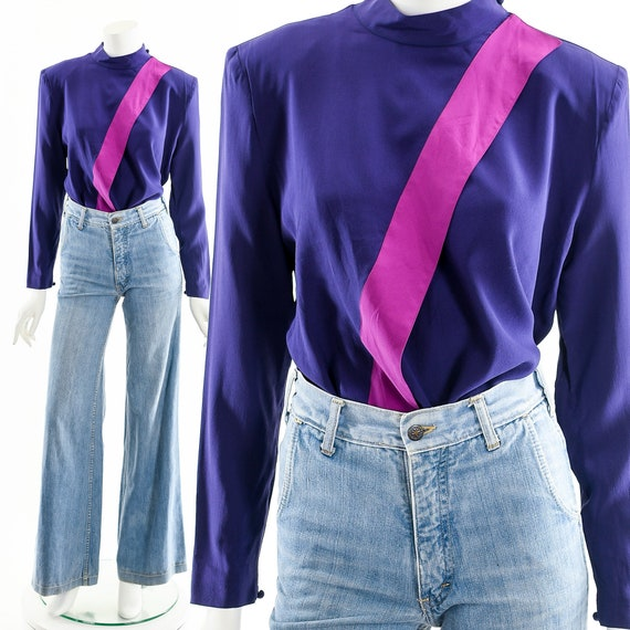 Jacques Molko Silk Blouse,Colorblock Silk Top,Jewe