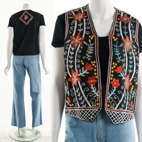 Vintage Hungarian Embroidered Vest, Floral Embroid