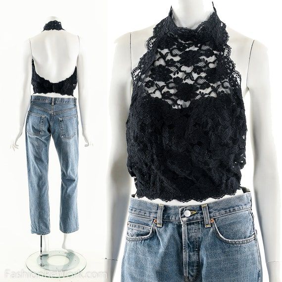 Black Lace Halter,Halter Crop Top,Edgy Sexy Top,Bl