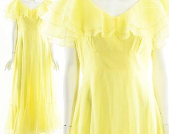 Whimsical Chiffon Dress,Romantic Ruffle Dress,Gone with the Wind Dress,Lemon Yellow Dress,Low Back Dress,Cocktail Party Dress,Spring,Boho