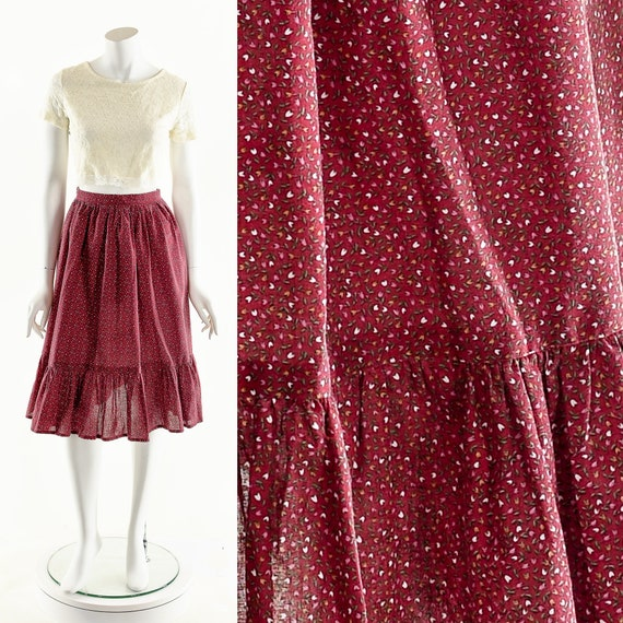 Red Prairie Skirt,Calico Floral Skirt,High Waist S