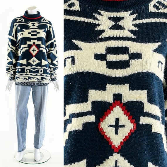 SOUTHWEST Sweater, Vintage Tribal Sweater, 80's Sw