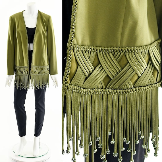 Braided Fringe Duster,Dark Green Fringe Coat,Coutu