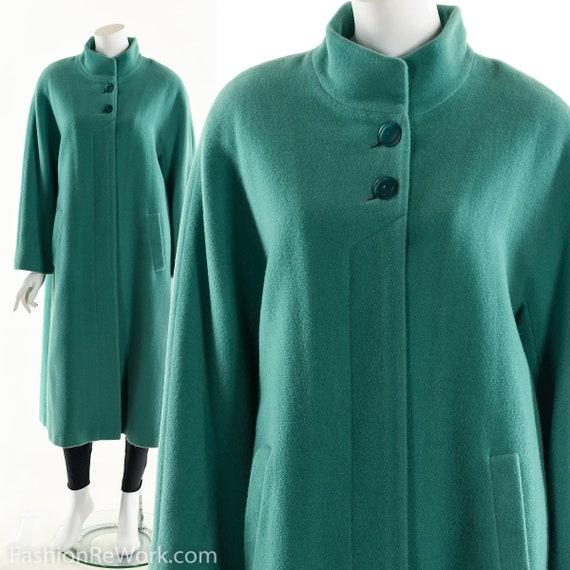 Green Wool Coat, Green Long Wool Trench Coat, Avan