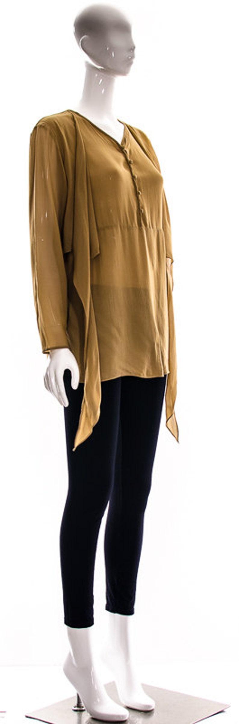 Vintage Coffee and Cream Latte Brown SILK Blouse Diaphanous Silk Panels Attached Silk Scarves Avant Garde Medium