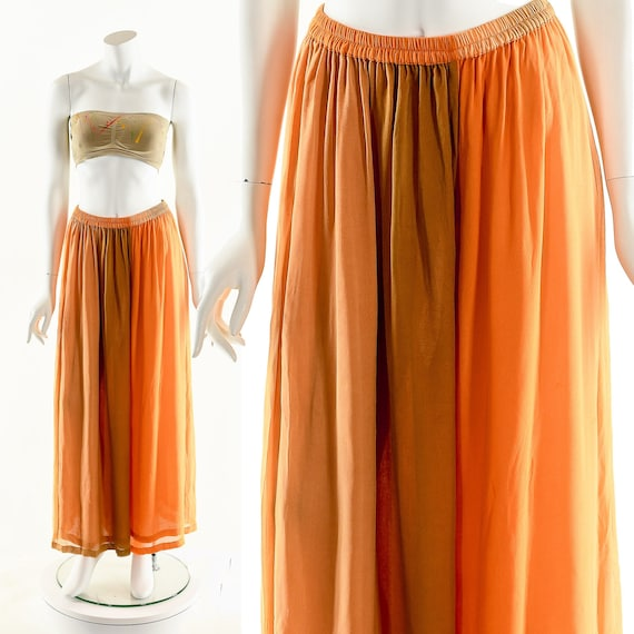 Watercolor Huge Silk Pants,Orange Ombre Palazzo Pa