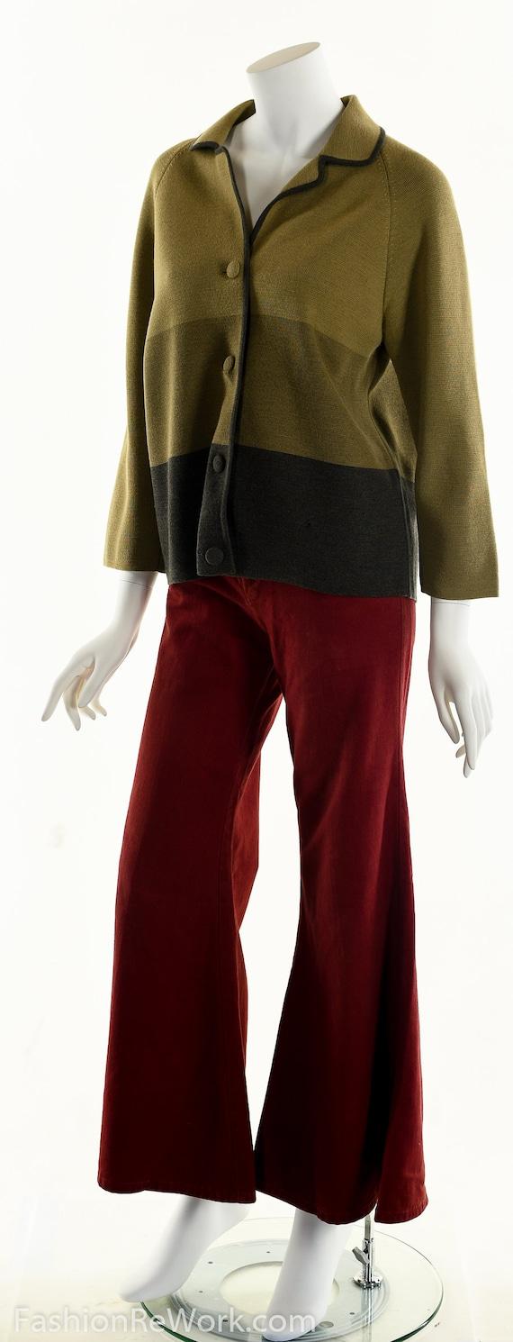 50's Italian Wool Sweater, Striped Wool Cardigan,… - image 9