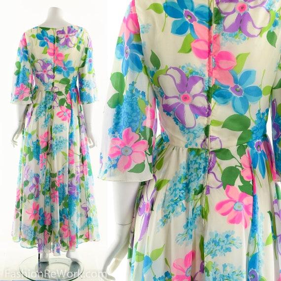 Chiffon Maxi Dress, Dreamy Floral Chiffon Dress, … - image 5