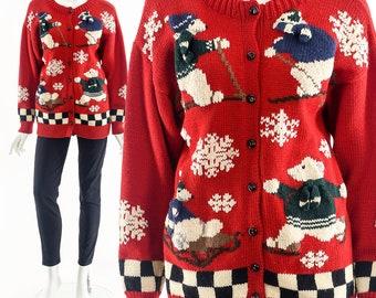 Ugly Christmas Sweater,Polar Bear Sweater,Tacky Xmas sweater cardigan,Festive Holiday Jumper,Christmas Gift,Snowsports Skiing Bear Xmas Top