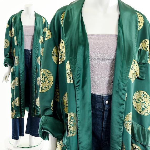 Emerald Green Silk Duster,Green Gold Kimono,Asian