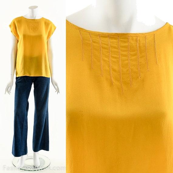 Yellow Silk Blouse,Bright Yellow Top,Bohomian Silk