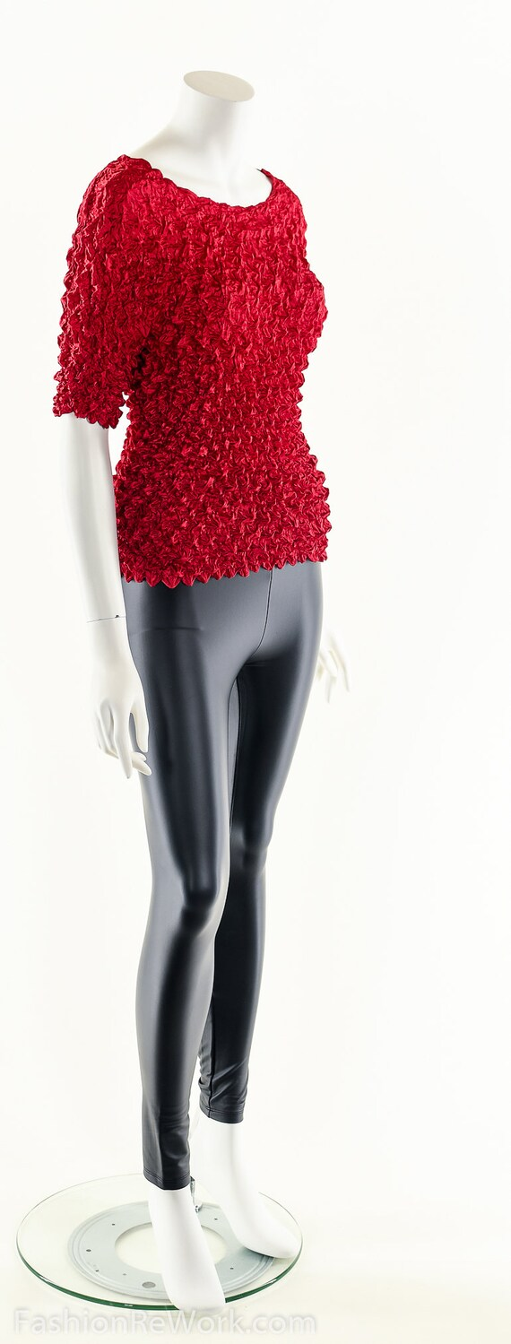 Red Popcorn Blouse,90s Vintage Blouse,Micropleat … - image 4