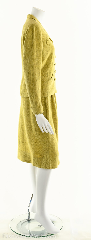 40's suit,vintage 1940's suit, yellow suit, skirt… - image 5