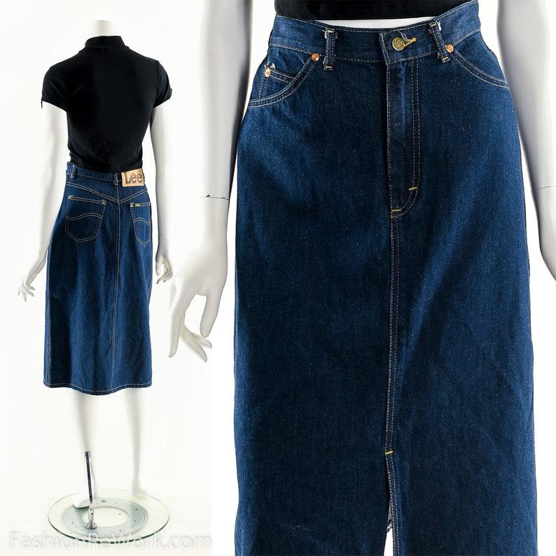 Vintage Lee SkirtHigh Waist Denim SkirtLee Midi Skirt80s image 0