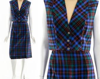 Two Piece Plaid Dress,Collegiate Style Dress,Vintage Dress Set,70s Dress Suit,Dark Academia Style,Wool Dress Suit,60s 70s Plaid Blue Dress