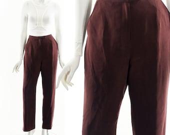 Oxblood Red Silk Pants,Dark Red Silk Trouser,Vintage High Waist Pants,Sexy Silk Trousers,Menswear Inspired,Menswear Workwear Pant,Fall Silk