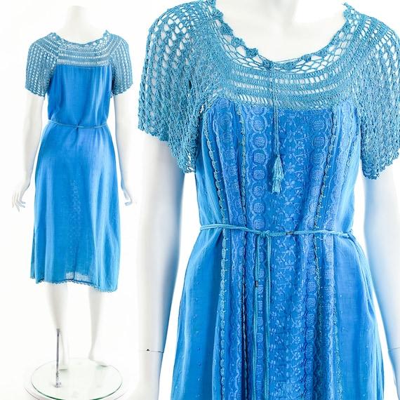 Blue India Gauze Dress,Turquoise India Cotton Dre… - image 3