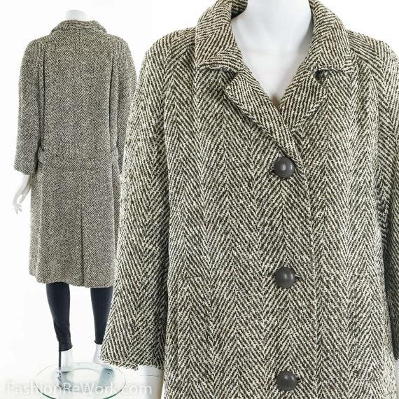 MINIMALIST Wool Coat, Checkered Wool Coat, Peacoat