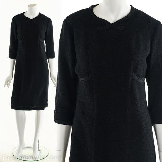 Vintage 20's Black Wool Dress, 20's Dress, Soutach