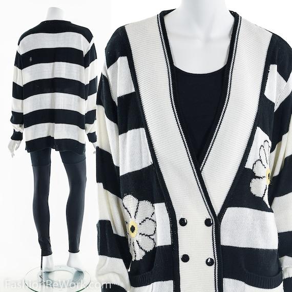 Daisy Sweater, 90's Daisy Sweater Cardigan, Black