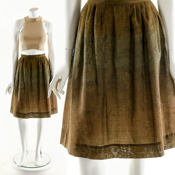 Floral Ombre Skirt,Ombre Brown Circle Skirt,High W