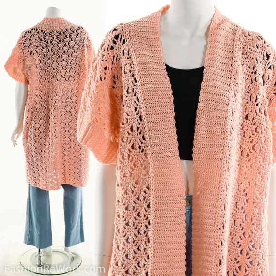 Pink Duster Sweater, Pink Crochet Sweater, Hand Kn