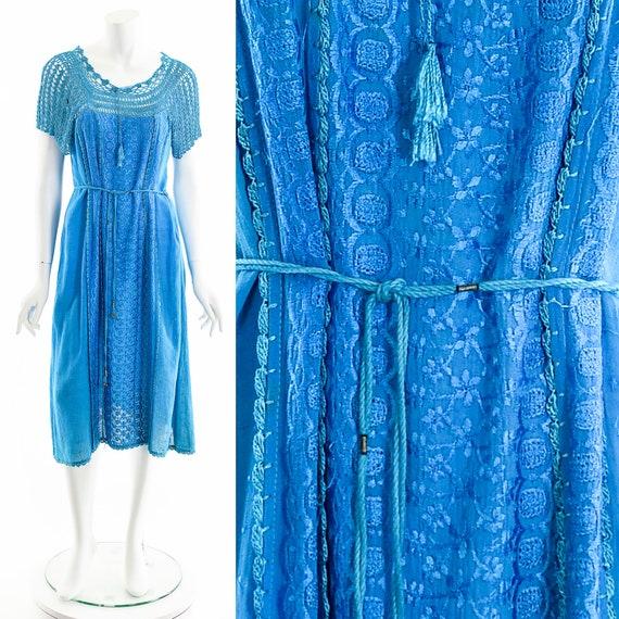 Blue India Gauze Dress,Turquoise India Cotton Dre… - image 1