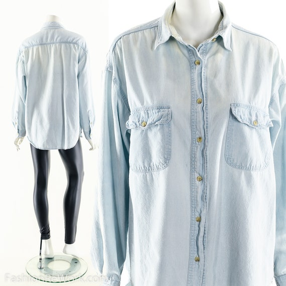 Chambray Button Down Shirt,Light wash jean shirt,G