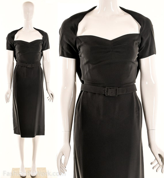 Vintage 40s Black Pencil Dress,40s Va Va Voom Dres