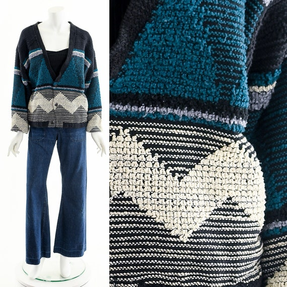 Shag Cardigan Sweater,Chevron Textured Sweater,Nub