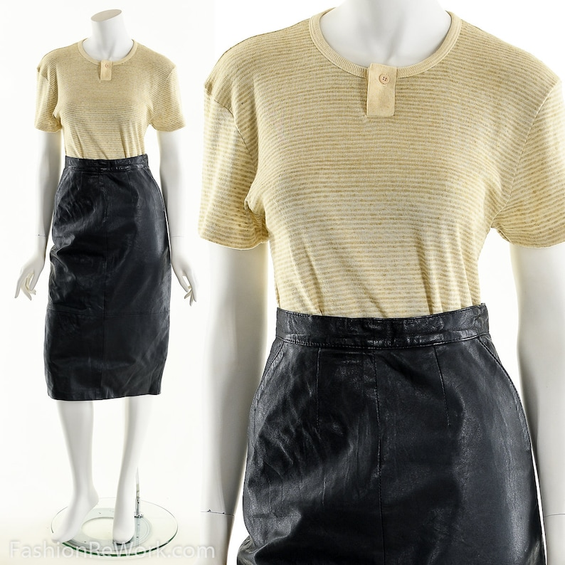 Leather Pencil SkirtBlack Leather Skirt Vintage 80s image 0