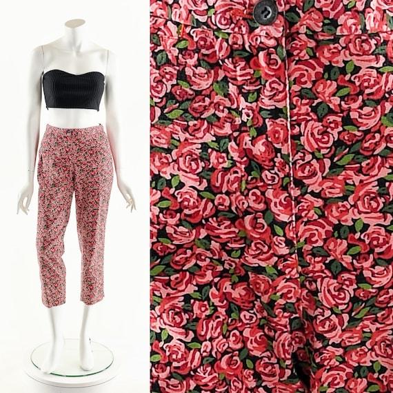 Rose Print Pants,50s Inspired Pants,Rose Print Cap