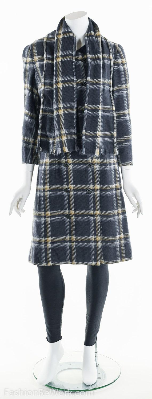 Plaid Wool Coat, Double Breasted Coat, 60's Coat,… - image 9