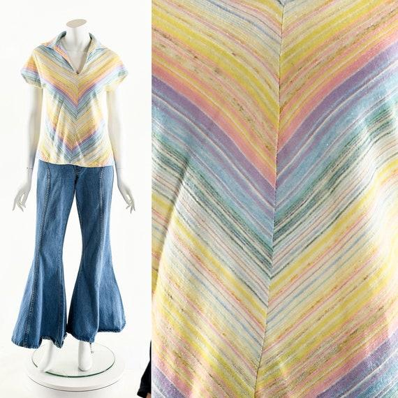 Pastel Rainbow Blouse,Vintage 60s Rainbow Top,Spac
