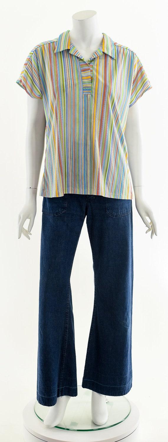Fruit Striped Blouse,Rainbow Stripe Blouse,Vintag… - image 4