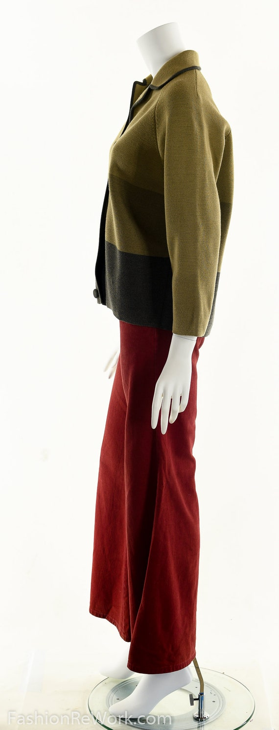 50's Italian Wool Sweater, Striped Wool Cardigan,… - image 7