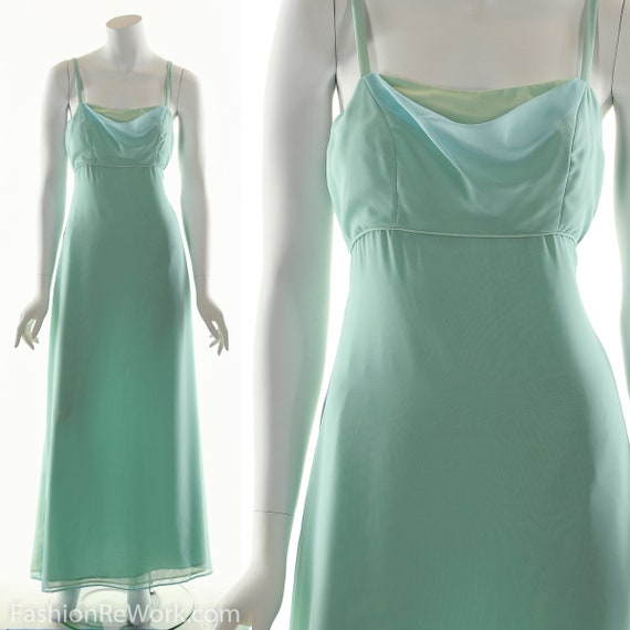 Green Party Dress, Seafoam Green Maxi Dress, Cockt