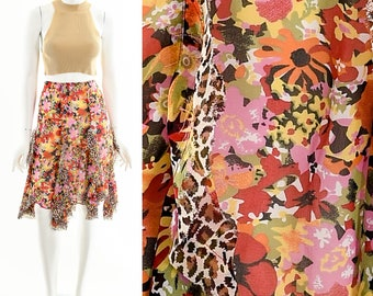 Handkerchief Hem Chiffon Skirt,Leopard Floral Silk Chiffon Skirt,y2k jagged hemline skirt,watercolor floral skirt,animal print midi skirt