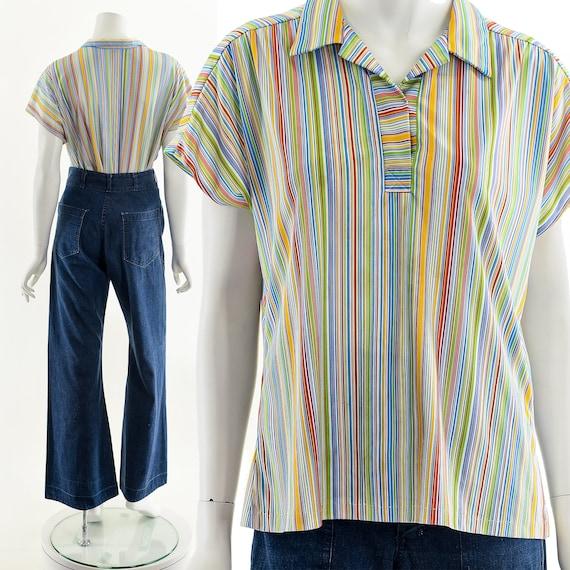 Fruit Striped Blouse,Rainbow Stripe Blouse,Vintag… - image 3