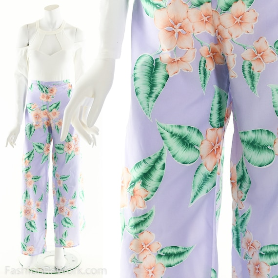Tropical Wrap Pants, Vintage Lavender Pants, Hibis
