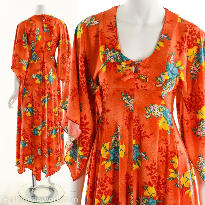 357b6d3317d Coral Red Maxi Dress 70 s Floral Dress Asian