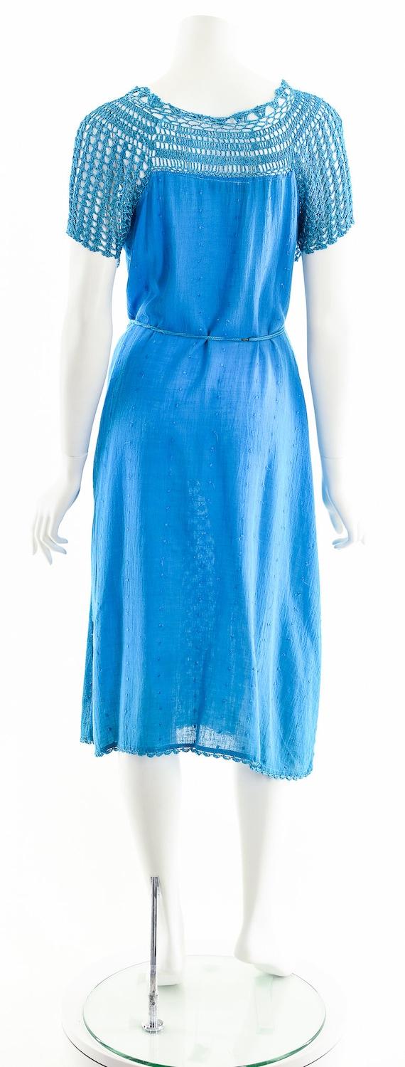 Blue India Gauze Dress,Turquoise India Cotton Dre… - image 7