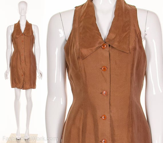 Silk Dress Peter Short TUXEDO Brown Minidress Cutout Medium Collar Vintage 90's Pan Back Silk qFnFgAf