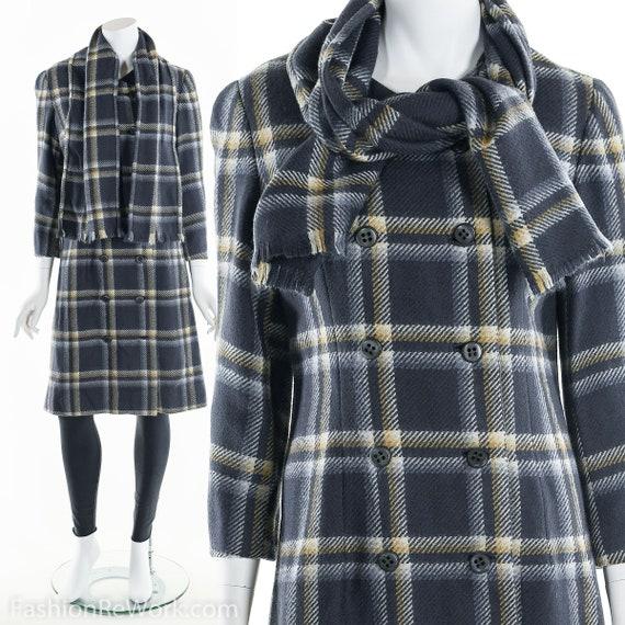 Plaid Wool Coat, Double Breasted Coat, 60's Coat,