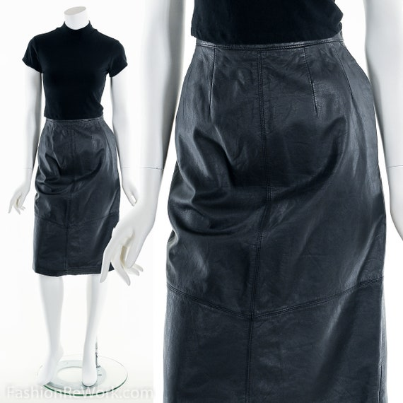 Leather Pencil Skirt,Black Leather Sexy Skirt,Vint
