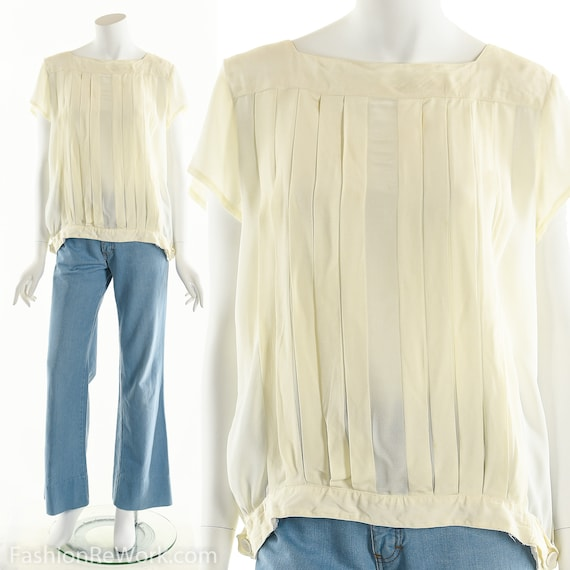 Vintage Japanese Blouse, White Blouse, Pleated Whi